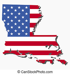 Louisiana map flag - Map of the State of Louisiana and...