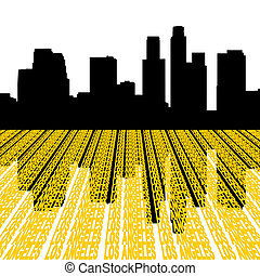 Los Angeles Skyline with text - Los Angeles Skyline...