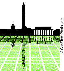 Washington DC Skyline with text illustration