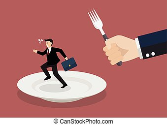 Businessman run away from big hungry man. Business concept