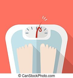 Overweight bare feet on weight scale Vector illustration