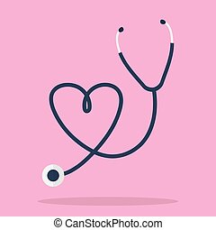 Stethoscope in Shape of Heart. llustration