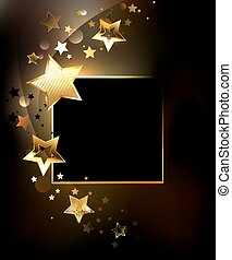 Square banner with gold stars - Design with stars
