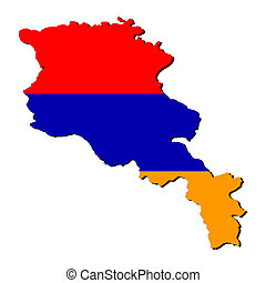 Armenia map flag - map of Armenia and Armenian flag...