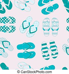 Seamless pattern with colorful flip flops. Vector...