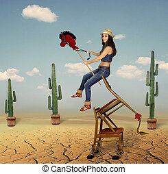 Girl on horseback.