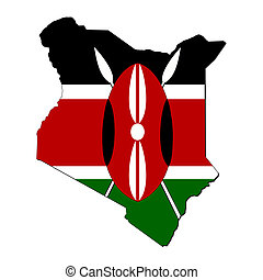 Kenya map flag - map of Kenya and their flag illustration