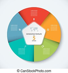 Vector infographic circle template. Business concept with 5...