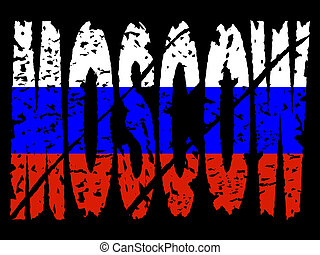 grunge Moscow text with flag
