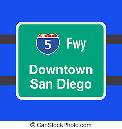 freeway to San Diego sign