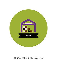 stylish icon in color circle building barn - stylish icon in...