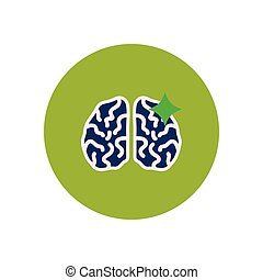 stylish icon in color circle brain stroke