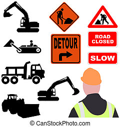 assorted roadwork illustrations - assorted roadwork signs...