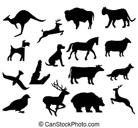 assorted animal silhouettes