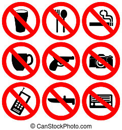 prohibited signs illustration - prohibited signs no drinking...