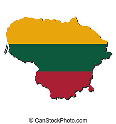 Lithuania map flag - map of Lithuania and Lithuanian flag...