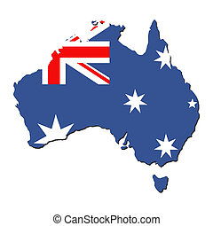 Australia map flag - map of Australia and Australian flag...