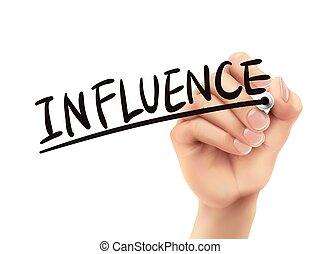 Influence written by hand
