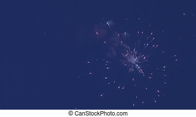 Beautiful fireworks on background of blue sky - Beautiful...