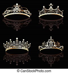 set collection of four golden with pearls feminine tiaras -...