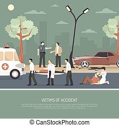 trafik, olycka, första, Bistånd, lägenhet,...