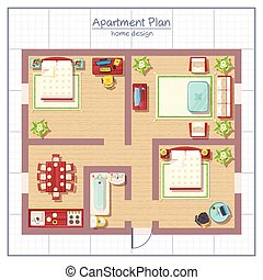 Home Design Illustration - Home design top view with living...