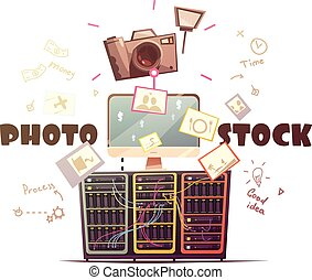 Photo Microstock Industry Concept Retro Illustration -...