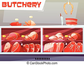 Storefront Of Butchery Shop - Storefront of butchery shop...