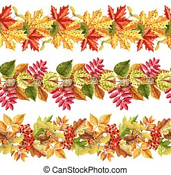 Autumn Leaves Seamless Border - Seamless borders with bright...