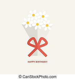 Happy birthday greeting card with bouquet of flowers tied up...