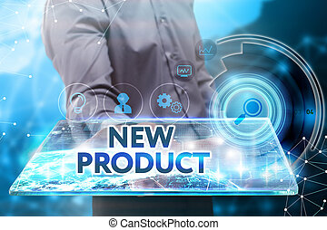 Business, Technology, Internet and network concept. Young businessman working on a tablet of the future, he sees the inscription: new product