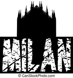 Duomo Milan with grunge text illustration