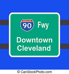 freeway to Cleveland sign