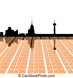 San Antonio Skyline with text - San Antonio Skyline with...
