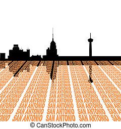 San Antonio Skyline with text - San Antonio Skyline with...