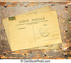Retro post cards on ancient wooden plank - Vintage post...