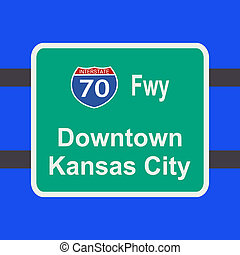 freeway to Kansas City sign - freeway to downtown Kansas...