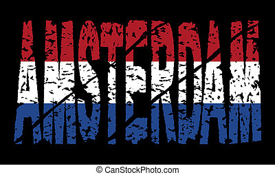 grunge Amsterdam text with flag