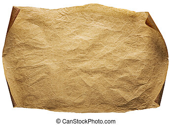 Old Paper Background, Curled Brown Parchment, Ancient Page Isolated