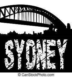 Sydney harbour bridge grunge