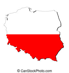 Poland map flag - map of Poland with their flag illustration