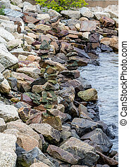 Granite Rocks for Seawall in Harbor