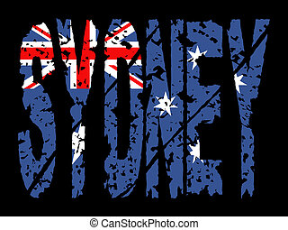 grunge Sydney text with flag