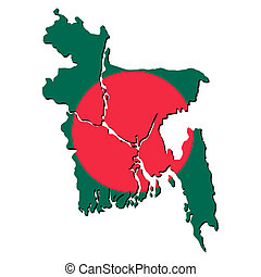 Bangladesh map flag - map of Bangladesh with their flag...