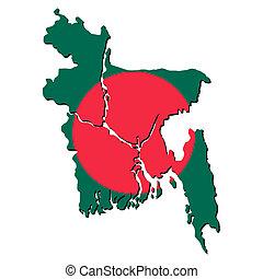Bangladesh map flag - map of Bangladesh with their flag...