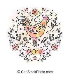 Hand Drawn Rooster. 2017 Chinese New Year of the Cock. Line...