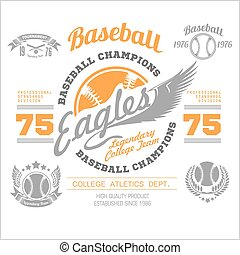 Baseball logo, emblem, badge and design elements. Vector...