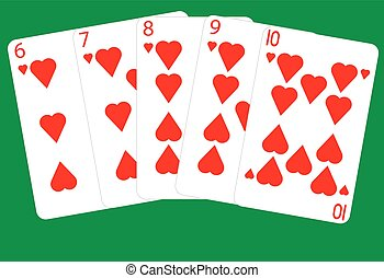 Straight Flush - A Straight Flush Winning Poker Hand on a...