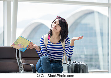 woman take map and confuse - beauty woman take map and...