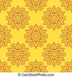 Vector Red Seamless Mandala Pattern over yellow - Vector Red...
